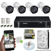 Kit Cftv 4 Câmeras VHD 3130B 720P 3,6mm DVR Intelbras MHDX 1104 + HD 500GB