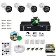 Kit Cftv 4 Câmeras VHD 3130B 720P 3,6mm DVR Intelbras MHDX 1008  + HD 1 TB WDP