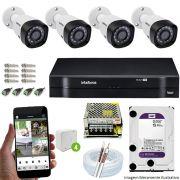 Kit Cftv 4 Câmeras VHD 3130B 720P 3,6mm DVR Intelbras MHDX 1108   + HD 1 TB WDP