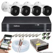 Kit Cftv 4 Câmeras VHD 3130B 720P 3,6mm DVR Intelbras MHDX 1108   + Acessórios