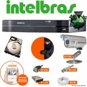 Kit Cftv 4 Canais Intelbras G3 2 Cameras Infra C/ Hd 250 Gb