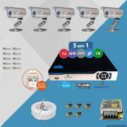 Kit Cftv 5 Câmeras Bullet CCD Infravermelho 3,6MM 1200L Dvr 8 Canais Newprotec + CABO