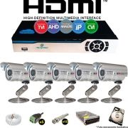 Kit Cftv 5 Câmeras Bullet CCD Infravermelho 3,6MM 1200L Dvr 8 Canais Newprotec + HD 250GB