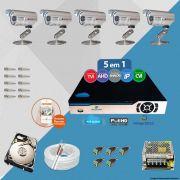 Kit Cftv 5 Câmeras Bullet CCD Infravermelho 3,6MM 1200L Dvr 8 Canais Newprotec + HD 2 TB