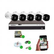 Kit Cftv 5 Câmeras Vhd 1120B Bullet 720P Dvr 8 Canais Intelbras Mhdx + Acessórios