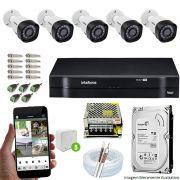 Kit Cftv 5 Câmeras VHD 3130B 720P 3,6mm DVR Intelbras MHDX 1108  + HD 1 TB
