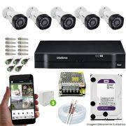 Kit Cftv 5 Câmeras VHD 3130B 720P 3,6mm DVR Intelbras MHDX 1108 + HD 1 TB WDP