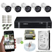 Kit Cftv 5 Câmeras VHD 3130B 720P 3,6mm DVR Intelbras MHDX 1108 + HD 500GB