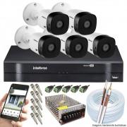 Kit Cftv 5 Câmeras VHD 3130B 720P 3,6mm DVR Intelbras MHDX 1108 + ACESSORIOS