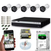Kit Cftv 5 Câmeras VHD 3230B 1080P 3,6mm DVR Intelbras MHDX 3108 + HD 1TB