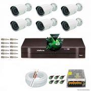 Kit Cftv 6 Câmeras 1.3MP 720p Dvr 8 Canais MHDX Intelbras 5 em 1 + ACESSORIOS