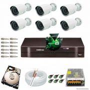 Kit Cftv 6 Câmeras 1.3MP 720p Dvr 8 Canais MHDX Intelbras 5 em 1 + HD 2TB