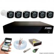 Kit Cftv 6 Câmeras AHD-M 720p Dvr 8 Canais 5 em 1 HD + Acessórios