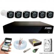 Kit Cftv 6 Câmeras AHD-M 720p Dvr 8 Canais 5 em 1 HD + HD 1 TB