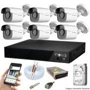 Kit Cftv 6 Câmeras AHD-M 720p Dvr 8 Canais Inova 5 em 1 + HD 500GB