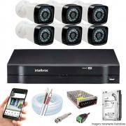 Kit Cftv 6 Câmeras AHD-M 720p Dvr 8 Canais MHDX Intelbras 5 em 1 + HD 1TB