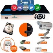 Kit Cftv 6 Câmeras Bullet CCD Infravermelho 3,6MM 1200L Dvr 8 Canais Newprotec 5 em 1 AHD, HDCVI, HDTVI E ANALOGICO E IP + HD 250GB