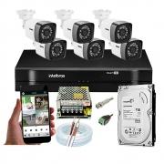 Kit Cftv 6 Câmeras Bullet Dvr Intelbras Mhdx 1108 + Acessórios