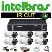 Kit Cftv 6 Câmeras Bullet Ir Cut 1500L Dvr 8 Canais Intelbras MHDX + HD 250 GB