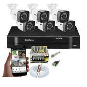 Kit CFTV 6 Câmeras Bullet TWG DVR Intelbras MHDX 1108 + Acessórios