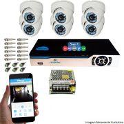 KIT CFTV 6 Câmeras CCD Dome Infravermelho 1500 TVL 3,6mm + DVR 8 Canais 5 em 1