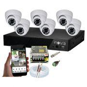 KIT CFTV 6 Câmeras Dome AHD 3,6MM Infravermelho + DVR 8 Canais 5 em 1