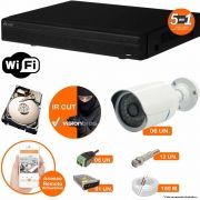 Kit Cftv 6 Câmeras IR CUT 3,6MM 1500L Dvr 8 Canais Visionbras XVR 720p + HD 250GB