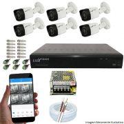 Kit Cftv 6 Câmeras Luxvision 720p Dvr 8 Canais Luxvision ECD 5 em 1 + Acessórios