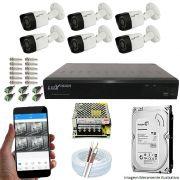 Kit Cftv 6 Câmeras Luxvision 720p Dvr 8 Canais Luxvision ECD 5 em 1 + HD 500GB