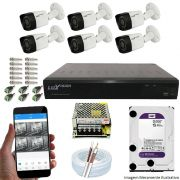 Kit Cftv 6 Câmeras Luxvision 720p Dvr 8 Canais Luxvision ECD 5 em 1 + HD WDP 1TB