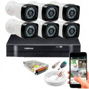 Kit Cftv 6 Câmeras Tw-7720 Bullet 1080P Dvr 8 Canais Intelbras 1108 Mhdx + Acessórios