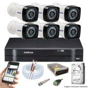 Kit Cftv 6 Câmeras TW-7720 Bullet 1080P Dvr 8 Canais Intelbras 1108 MHDX + HD 1TB