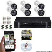 Kit Cftv 6 Câmeras VHD 1010 Bullet 720p Dvr 8 Canais Intelbras MHDX + Acessórios