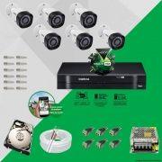 Kit Cftv 6 Câmeras VHD 1010B Bullet 720p Dvr 8 Canais Intelbras MHDX + HD 1TB