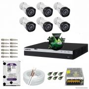 Kit Cftv 6 Câmeras VHD 1220B 1080P 3,6mm DVR Intelbras MHDX 3008 + HD 4TB WDP