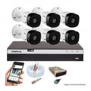 Kit Cftv 6 Câmeras Vhd 1220B 1080P 3,6Mm Dvr Intelbras Mhdx 3108 + Acessórios