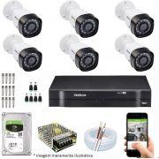 Kit Cftv 6 Câmeras VHD 1220B Bullet 720p Dvr 8 Canais Intelbras MHDX + HD 1TB