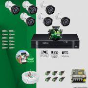 Kit Cftv 6 Câmeras VHD 3120B 720P 2,6mm DVR Intelbras MHDX 1008 + ACESSORIOS