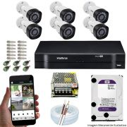Kit Cftv 6 Câmeras VHD 3120B 720P 2,6mm DVR Intelbras MHDX 1108 + HD 2TB WDP