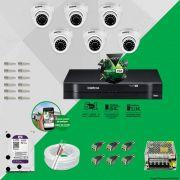 Kit Cftv 6 Câmeras VHD 3120D 720P 2,8mm DVR Intelbras MHDX 1008 + HD 1TB WDP