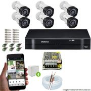 Kit Cftv 6 Câmeras VHD 3130B 720P 3,6mm DVR Intelbras MHDX 1108 + Acessórios