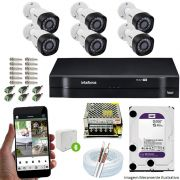 Kit Cftv 6 Câmeras VHD 3130B 720P 3,6mm DVR Intelbras MHDX 1108 + HD 1 TB WDP