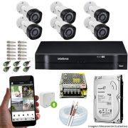 Kit Cftv 6 Câmeras VHD 3130B 720P 3,6mm DVR Intelbras MHDX 1108 + HD 500 GB