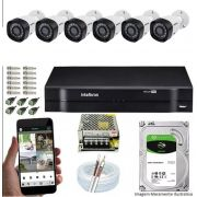Kit Cftv 6 Câmeras VHD 3230B 1080P 3,6mm DVR Intelbras MHDX 1108 + HD 1TB