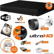 Kit Cftv 6 Câmeras Visionbras 2MP 1080p 3,6MM Dvr 8 Canais Visionbras XVR 1080p + HD 500GB