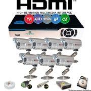 Kit Cftv 7 Câmeras Bullet CCD Infravermelho 3,6MM 1200L Dvr 8 Canais Newprotec + HD 250GB