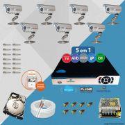 Kit Cftv 7 Câmeras Bullet CCD Infravermelho 3,6MM 1200L Dvr 8 Canais Newprotec + HD 320GB