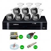 Kit Cftv 7 Câmeras Vhd 1120 Bullet 720P Dvr 8 Canais Intelbras Mhdx + Acessórios