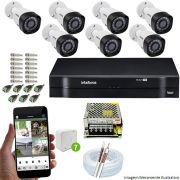 Kit Cftv 7 Câmeras VHD 3130B 720P 3,6mm DVR Intelbras MHDX 1108  + Acessórios