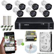 Kit Cftv 7 Câmeras VHD 3130B 720P 3,6mm DVR Intelbras MHDX 1108 + HD 1 TB